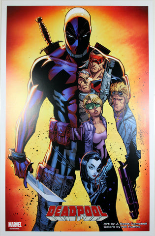 "DEADPOOL vs. X-FORCE 11"" x 17"" ART PRINT by J. Scott Campbell ~ Marvel Comics"