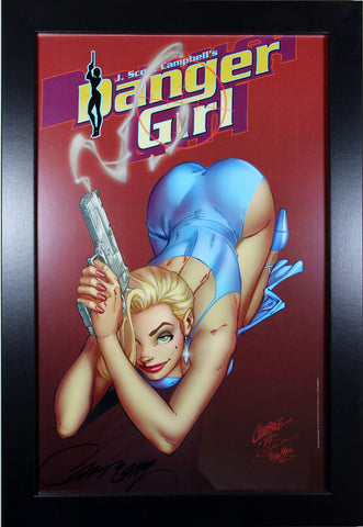 "DANGER GIRL ""RUBY RED"" 1998 ART PRINT ~ Signed by J. Scott Campbell - 11"" x 17"""