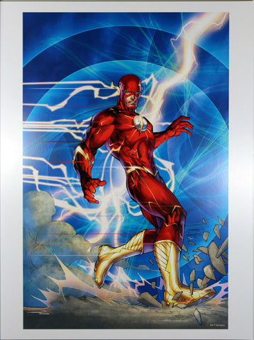 "THE FLASH ART PRINT by Jim Lee ~ 12"" x 16"" ~ Great Condition"