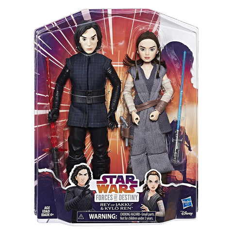 "Star Wars Forces of Destiny ~ 11"" KYLO REN & REY OF JAKKU ACTION FIGURE/DOLL SET"