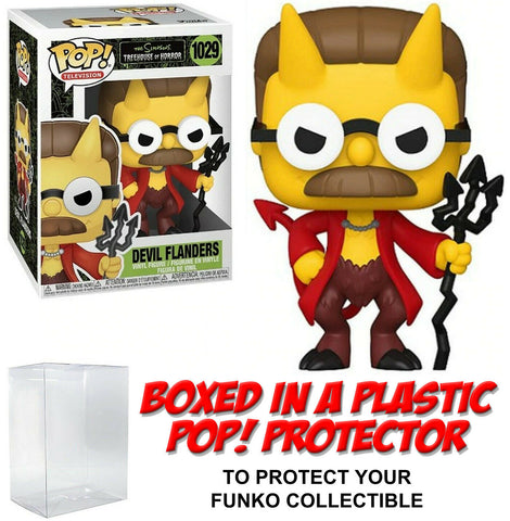Funko POP! Television ~ DEVIL FLANDERS (#1029) with Protector Case ~ Simpsons
