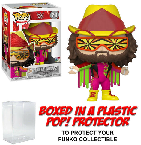 "Funko POP! WWE ~ ""MACHO MAN"" RANDY SAVAGE (#79) w/Protector Case ~ Wrestling"