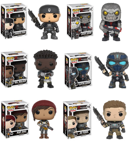Funko POP! Games ~ GEARS OF WAR VINYL FIGURE SET ~ Locust Drone, Marcus, JD+++