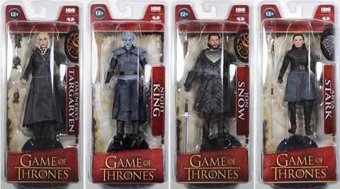 GAME OF THRONES SERIES 1 ACTION FIGURE SET (ARYA STARK, JON SNOW, NIGHT KING & DAENERYS TARGARYEN) ~ McFarlane Toys