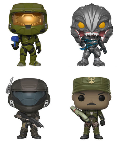 Funko POP! Games ~ HALO VINYL 4-FIGURE SET ~ Master Chief, Arbiter, Buck,Johnson
