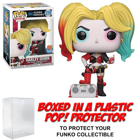 Funko POP! DC Heroes ~ HARLEY QUINN w/BOOMBOX PX EXCLUSIVE FIGURE w/PROTECTOR CASE