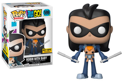 Funko POP! Television ~ ROBIN AS NIGHTWING w/BABY VINYL FIGURE ~ Teen Titans GO!