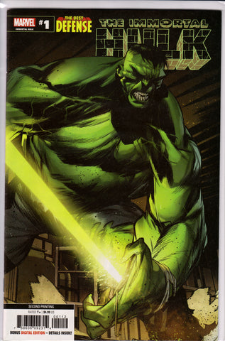 THE BEST DEFENSE: THE IMMORTAL HULK #1 (2ND PRINT) COMIC BOOK ~ Marvel Comics