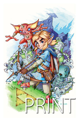 "ZELDA: BREATH OF THE WILD LINK ART PRINT ~ Signed by Chrissie Zullo ~ 11"" x 17"""