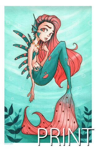 "LITTLE MERMAID ART PRINT ~ Signed by Chrissie Zullo ~ 11"" x 17"""