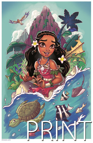 "MOANA ART PRINT ~ Signed by Chrissie Zullo ~ 11"" x 17"""