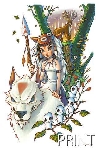 "PRINCESS MONONOKE ART PRINT ~ Signed by Chrissie Zullo ~ 11"" x 17"""