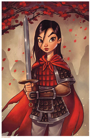 "MULAN ART PRINT ~ Signed by Chrissie Zullo ~ 11"" x 17"""