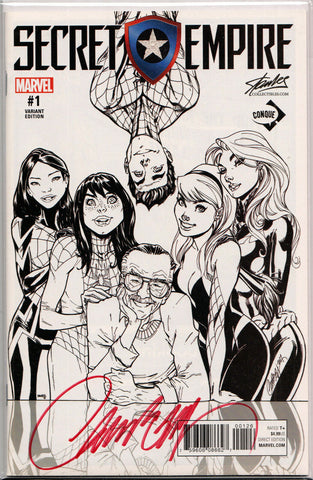 SECRET EMPIRE #1 CONQUE CON B&W EXCLUSIVE VARIANT ~ SIGNED BY J. SCOTT CAMPBELL