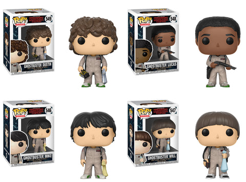 Funko POP! Television ~ STRANGER THINGS GHOSTBUSTERS VINYL FIGURE SET ~ Dustin++