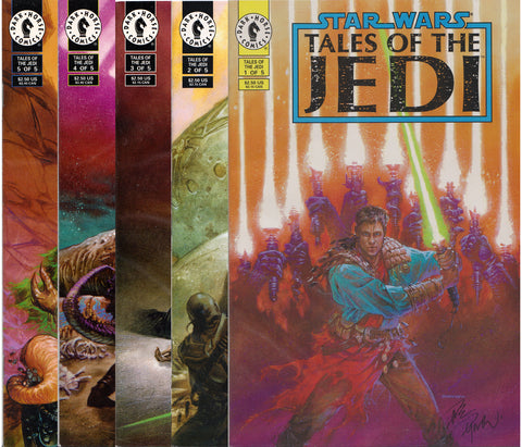 STAR WARS: TALES OF THE JEDI #1-5 COMIC BOOK SET ~ #1 & #2 Signed by Dave Dorman