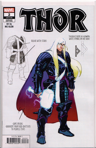 THOR #2 (KLEIN DESIGN VARIANT) COMIC BOOK ~ Marvel Comics