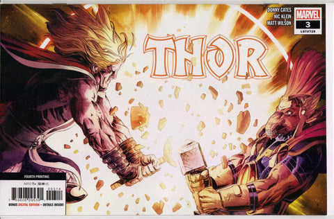 THOR #3 (4TH PRINT VARIANT) COMIC BOOK ~ Cates & Klein ~ Marvel Comics