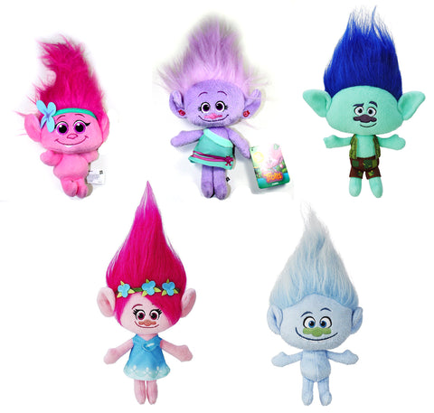 Dreamworks ~ TROLLS SERIES 6 PLUSH DOLL SET ~ Baby Poppy, Gia Grooves, Branch+++