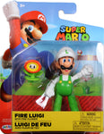 World of Nintendo ~ FIRE LUIGI w/FIRE FLOWER (WAVE 14) ACTION FIGURE ~ Super Mario Bros.