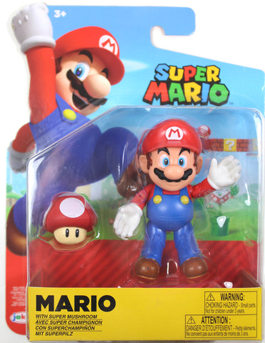 World of Nintendo ~ MARIO w/SUPER MUSHROOM (WAVE 19) ACTION FIGURE ~ Super Mario Bros.