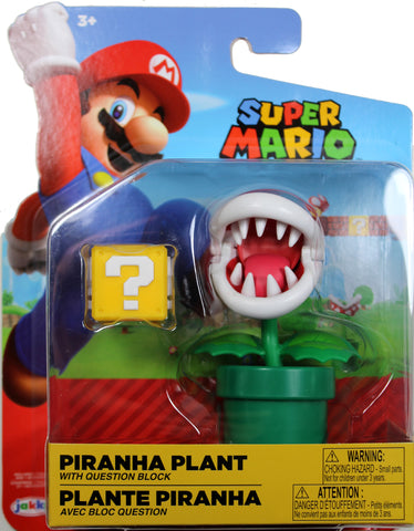 World of Nintendo ~ PIRANHA PLANT w/QUESTION BLOCK ACCESSORY (WAVE 14) ACTION FIGURE ~ Super Mario Bros.