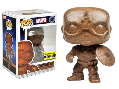 Funko POP! Marvel ~ WOOD DECO CAPTAIN AMERICA EXCLUSIVE FIGURE w/FREE POP PROTECTOR