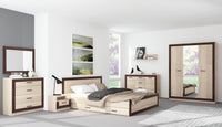 Boss King Size Bed Frame with drawers in Light Oak and Chocolate Oak Colour