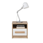 Aygo Bedside Table in Sand Beech and White