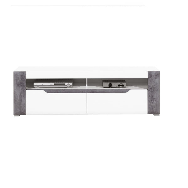 Brando TV Stand in White and Concrete