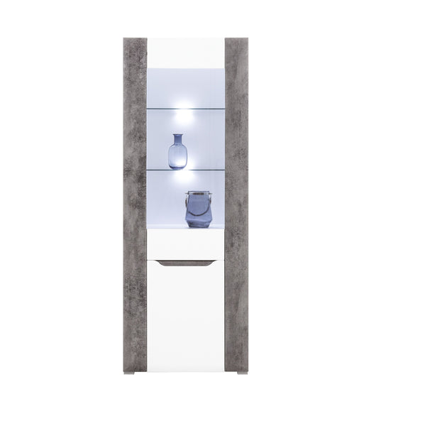 Brando Glass Door Unit in White and Concrete