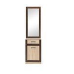 Boss Hallway Mirror with a Cupboard in Light Oak and Chocolate Oak Colour