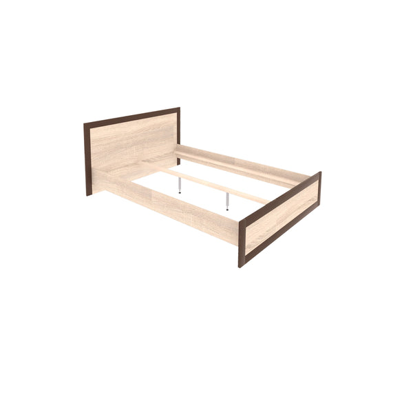 Boss European King Size Bed Frame with drawers in Light Oak and Chocolate Oak Colour