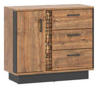 Dorian 1 Door April Oak And Black Cupboard With LED Lights And Drawers