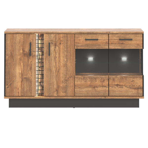 Dorian 4-Door April Oak And Black Sideboard With LED Lights And Glass