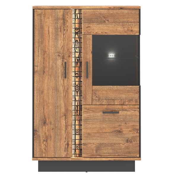 Dorian 3-Door April Oak And Black Display Cabinet With LED's