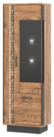 Dorian Tall Glass Door Unit With LED's in April Oak And Black Colour