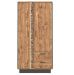 Dorian 2-Door Wardrobe With LED's in April Oak And Black Colour