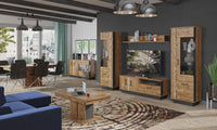 Dorian 2-Door April Oak And Black Sideboard With LED Lights And Drawers