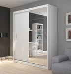 Fado 2 sliding door wardrobe with mirror in white matt colour