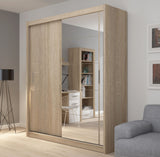 Fado 2 sliding door wardrobe with mirror in light oak colour