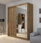 Fado 2 sliding door wardrobe with mirror in walnut matt colour