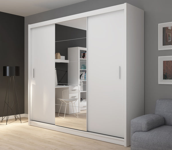 Fado 3 sliding door wardrobe with mirror in white colour