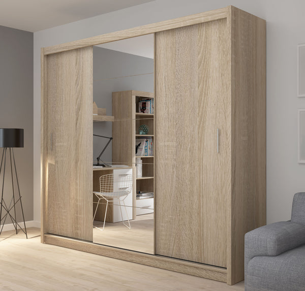Fado 3 sliding door wardrobe with mirror in light oak colour