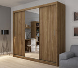 Fado 3 sliding door wardrobe with mirror in walnut colour