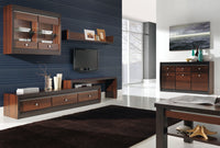 Forrest Wall-Mounted Glass-Door Display Unit in Dark Walnut and Milano Oak Colour