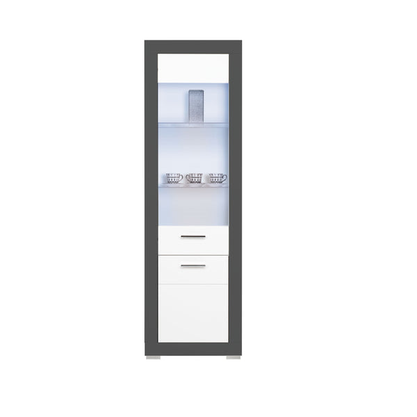 Gray Glass Door Display Unit in White Matt and Grey Colour