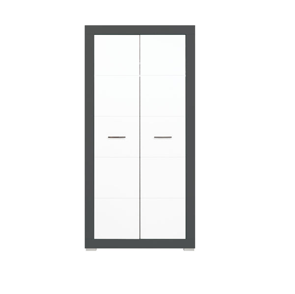 Gray 2-Door Wardrobe in White Matt and Grey Colour
