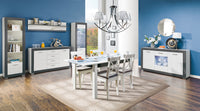 Gray Extendable Dining Table White Matt and Grey Colour