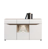 Lionel Glass Door Sideboard in Truffle Sonoma Oak and White Gloss Colour